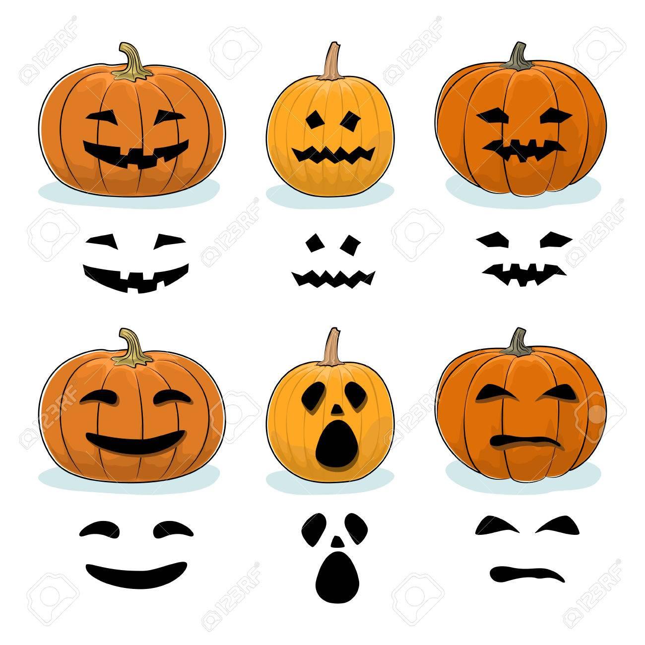 Set Of Carved Scary Halloween Pumpkins, A Jack-o-Lantern, Pumpkin ...