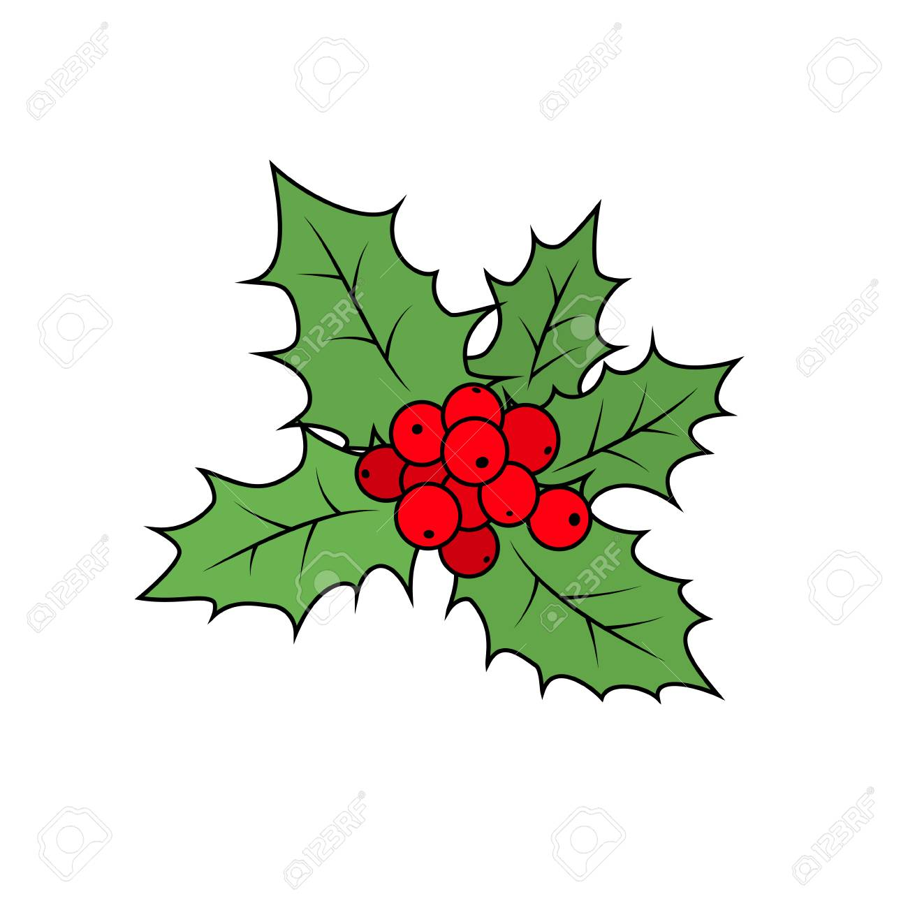 christmas holly berry isolated on white background christmas decorations merry christmas and happy new