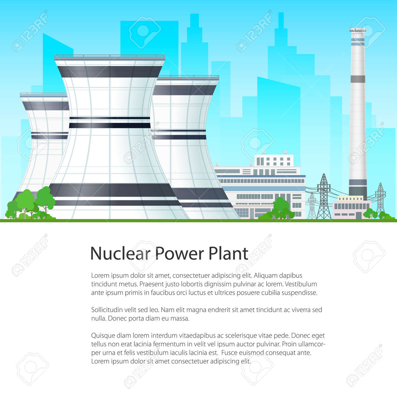 Nuclear power plant on the background of the city and text thermal nuclear power plant on the background of the city and text thermal station nuclear ccuart Choice Image