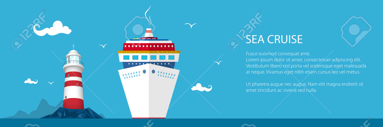 Banner of Marine Tourism, Cruise Ship and Lighthouse at the Ocean