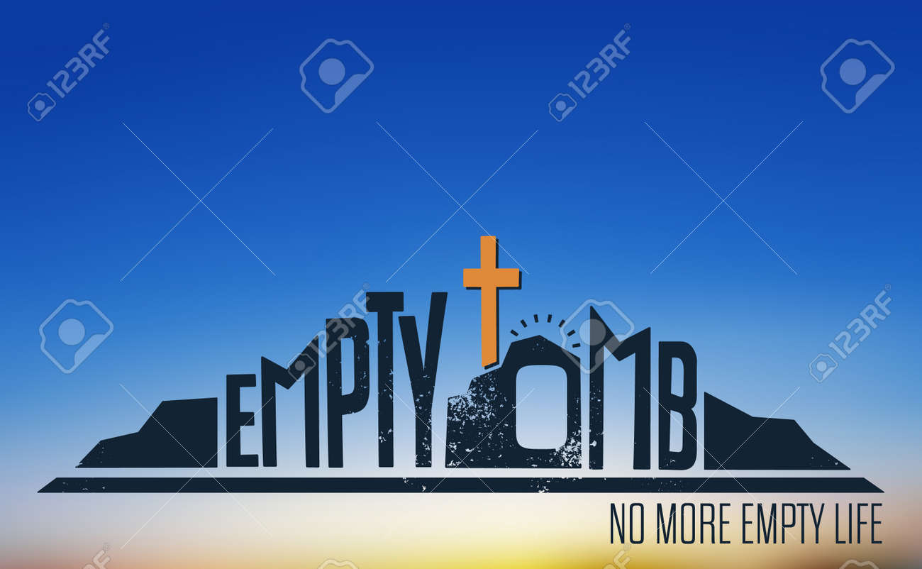 Empty Tomb - No More Empty Life Concept on Blurred Background - 56584669