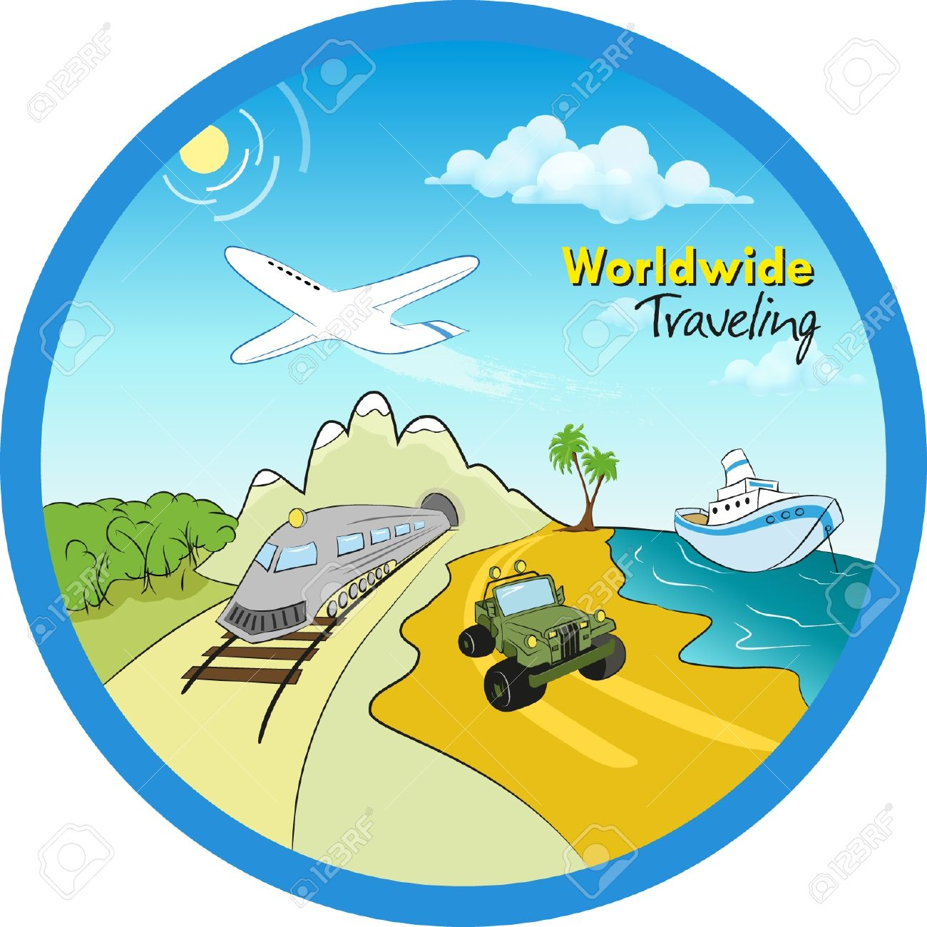 Travel Around The World In All Transport Modes Stock Vector