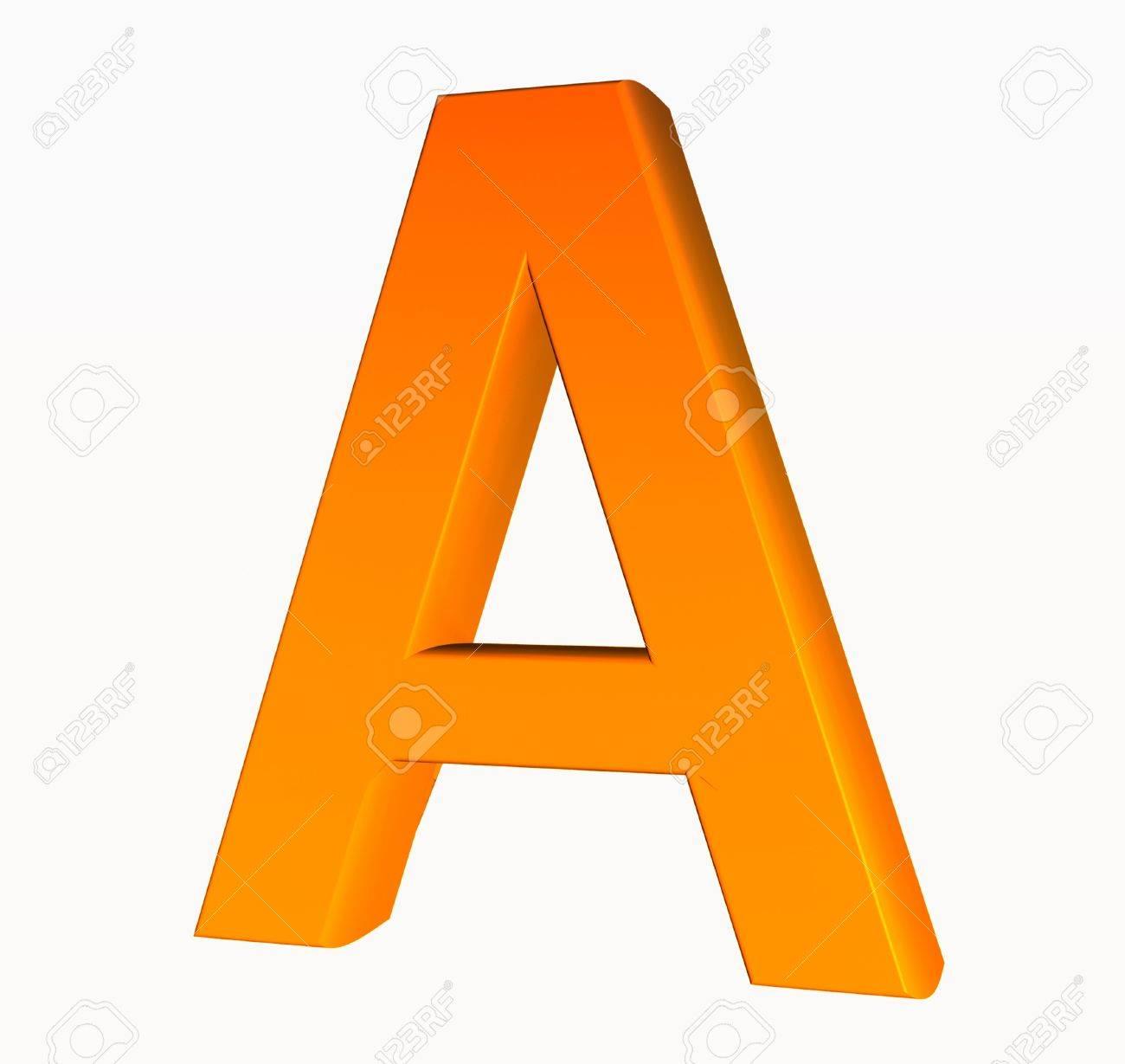 Orange Alphabet. Buchstaben A 3D Isoliert Auf Weiß. Lizenzfreie ...