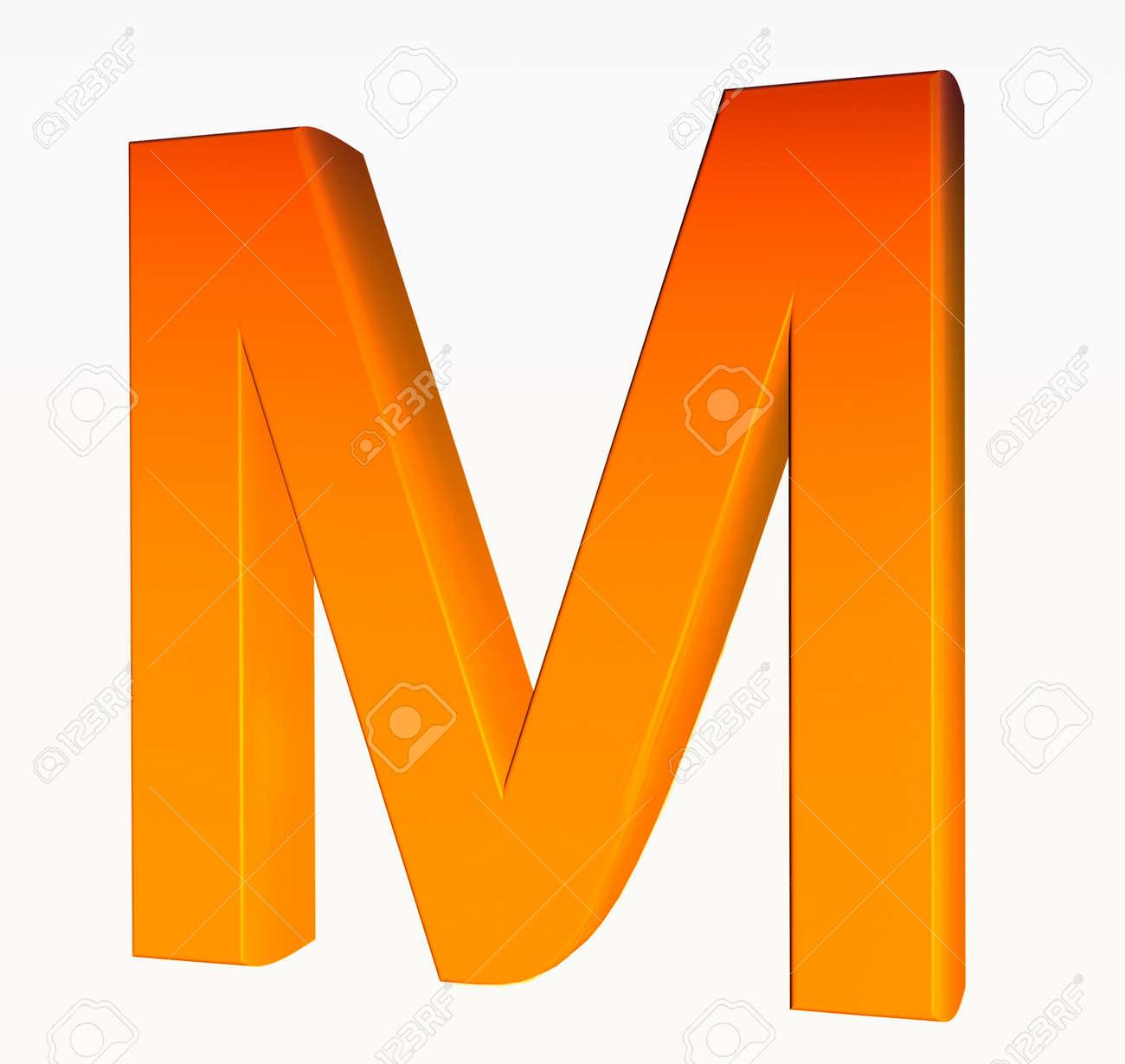 photo  alphabet orange lettre m d isole sur fond blanc