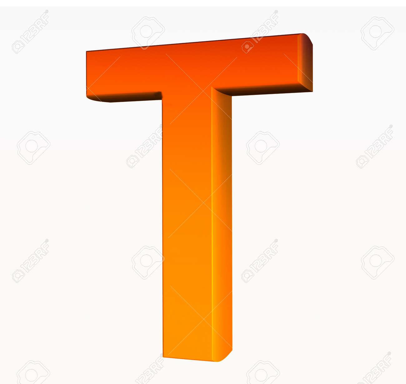 photo  alphabet orange lettre t d isole sur fond blanc