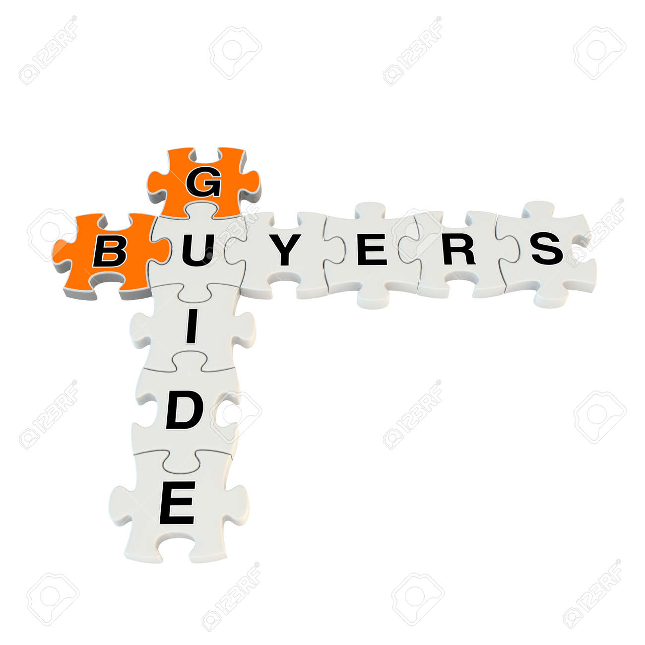 Buyers guide 3d puzzle on white background Stock Photo - 25878708