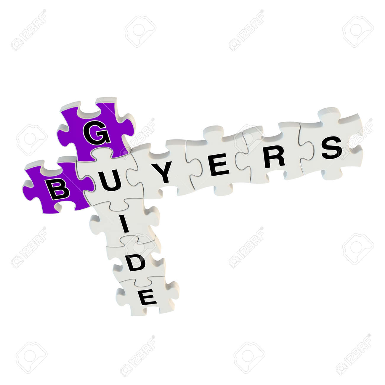 Buyers guide 3d puzzle on white background Stock Photo - 25878709