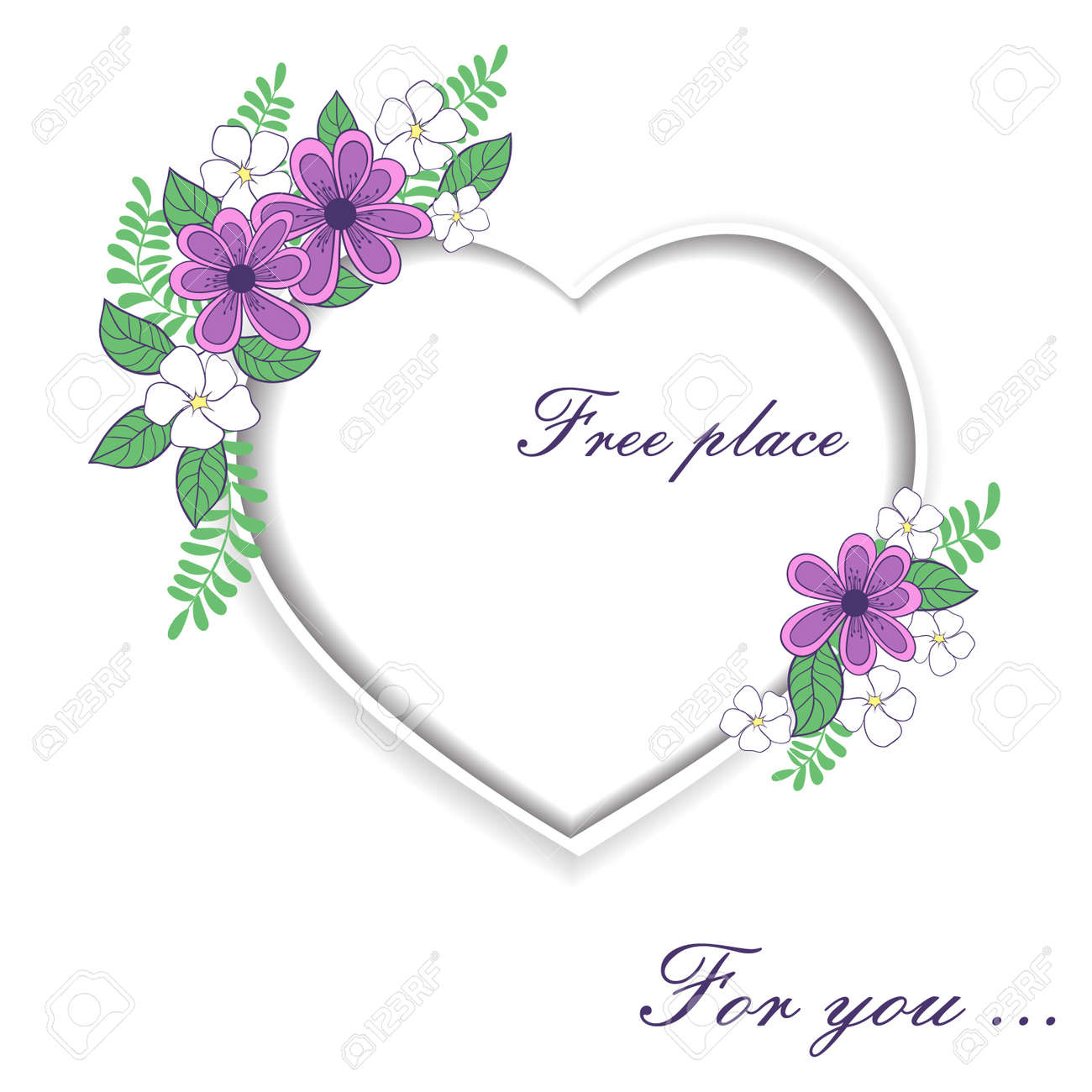 Heart Of Roses With Space For Text Royalty Free Cliparts, Vectors ...