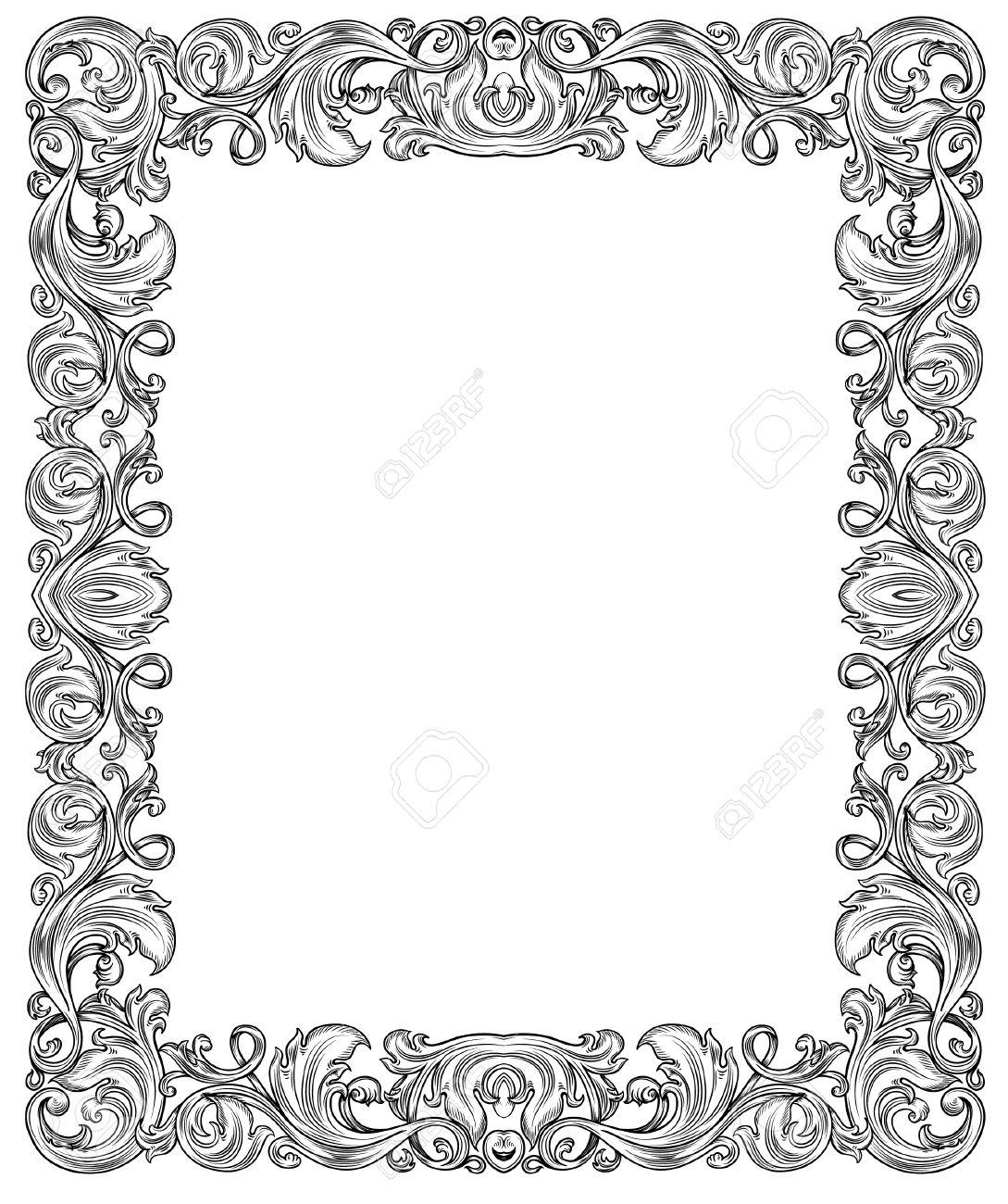 Schwarz Und Weiß Verzierten Rahmen, Isoliert Lizenzfrei Nutzbare ...