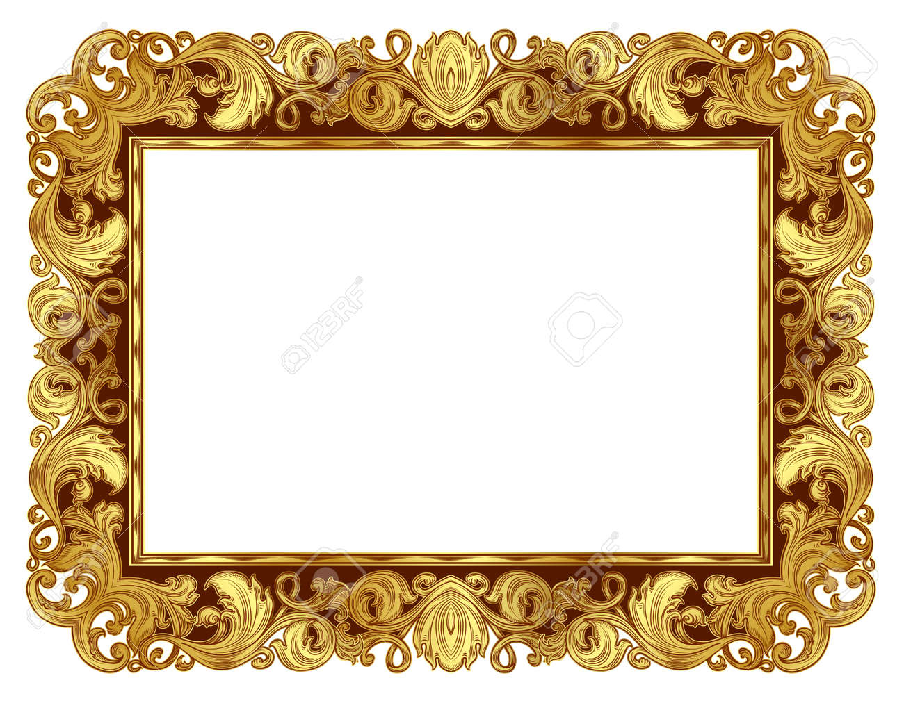Gold Ornate Frame In The Renaissance Style, In Isolation Royalty ...