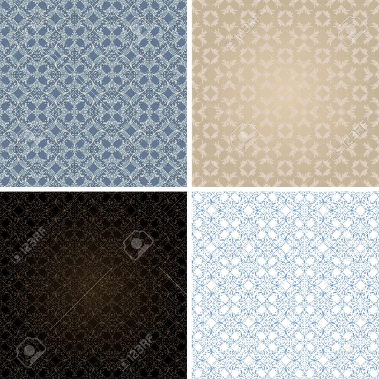 set of seamless vintage patterns Stock Vector - 22474583