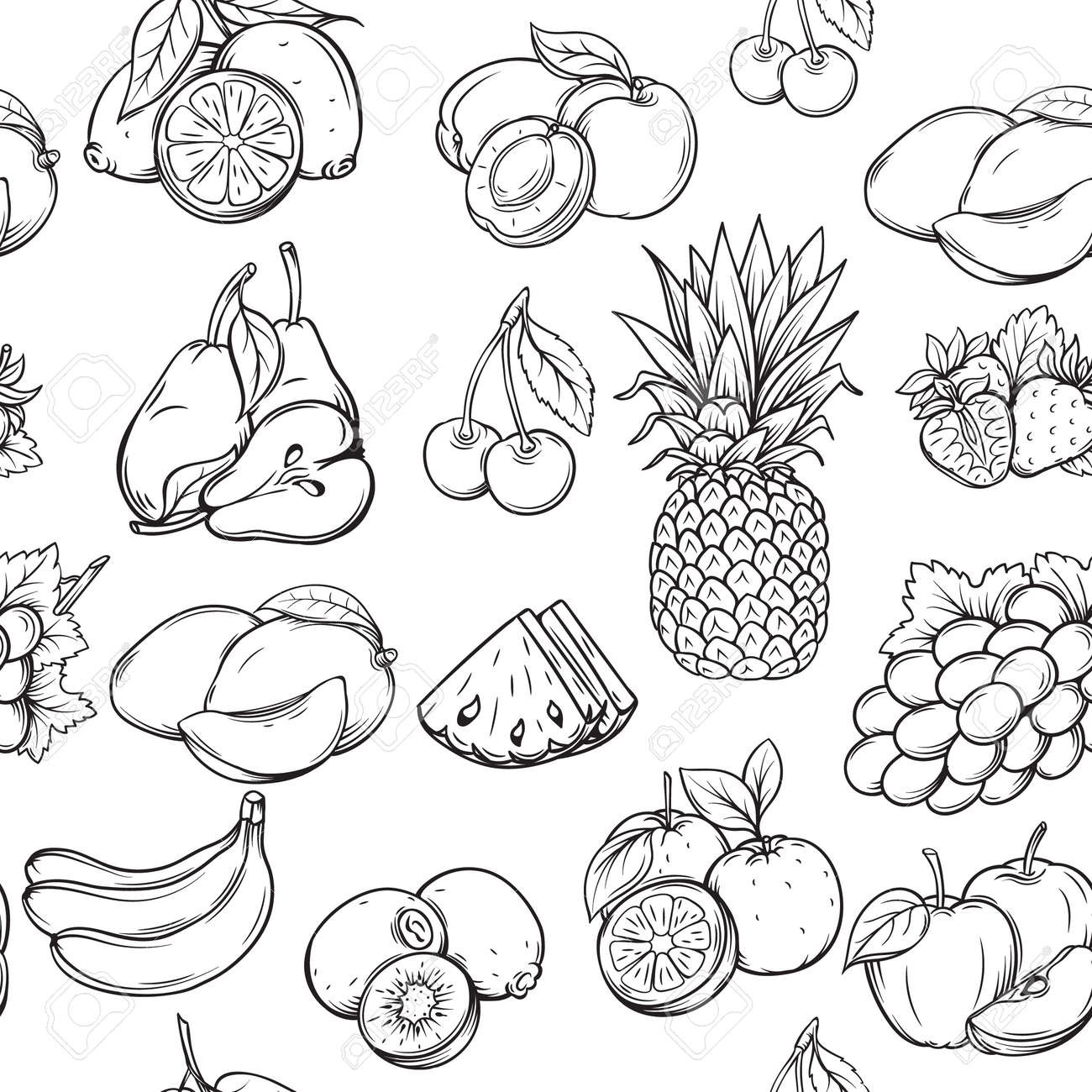 Hand Draw Fruits Seamless Pattern Vintage Style Royalty Free
