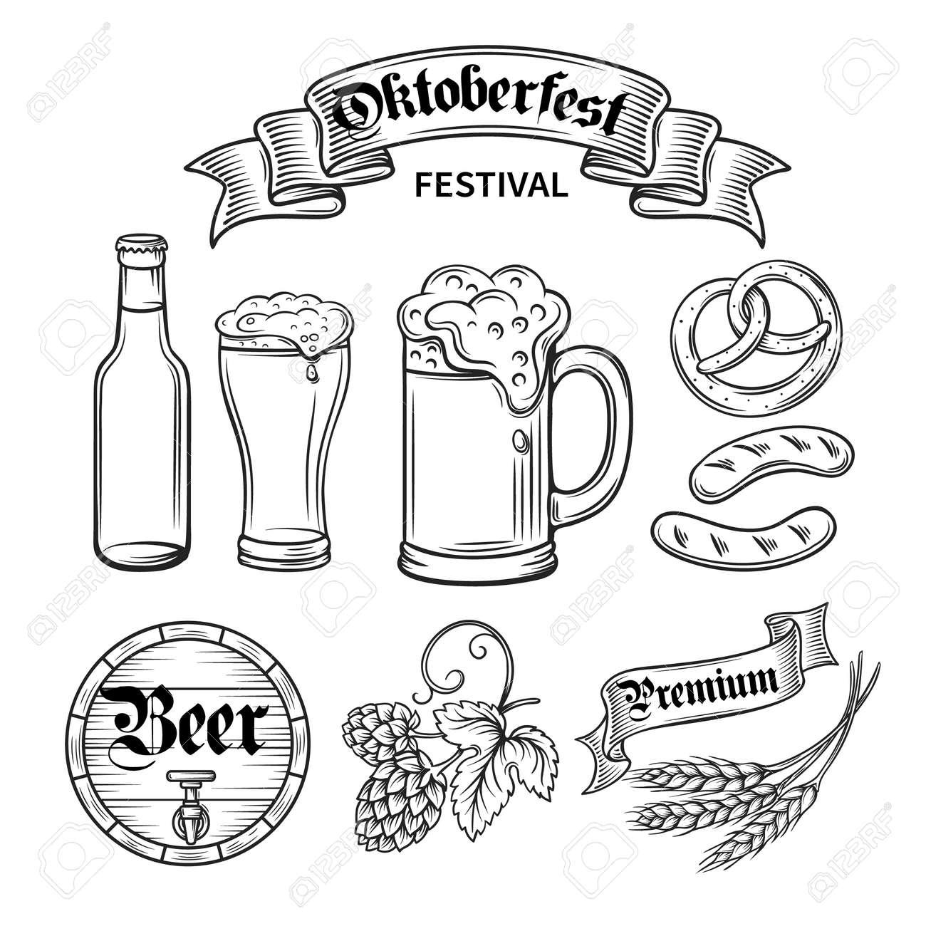 set hand draw decorarive beer oktoberfest black line royalty free