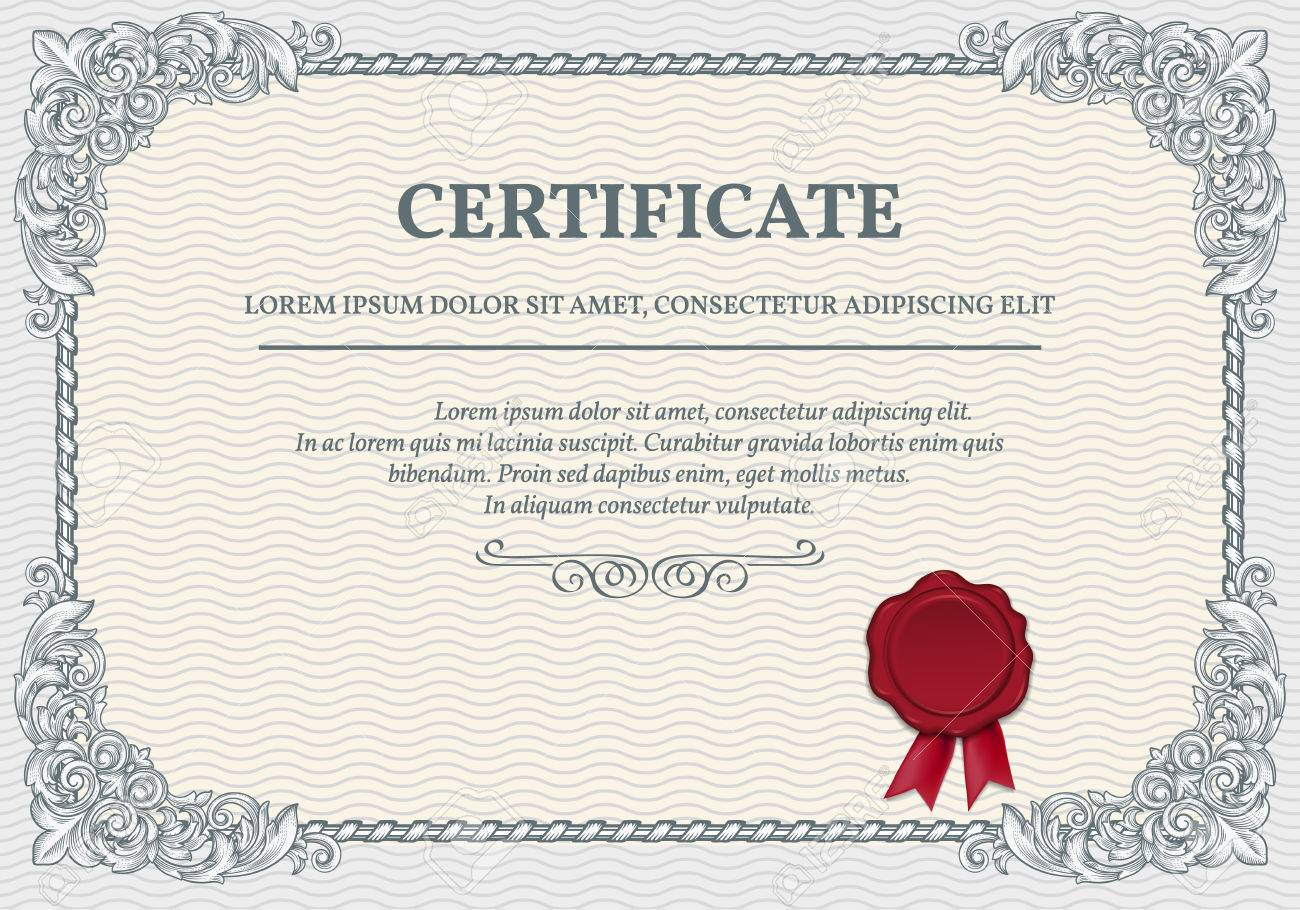 Horizontal Certificate Template With Retro Design Elements Royalty