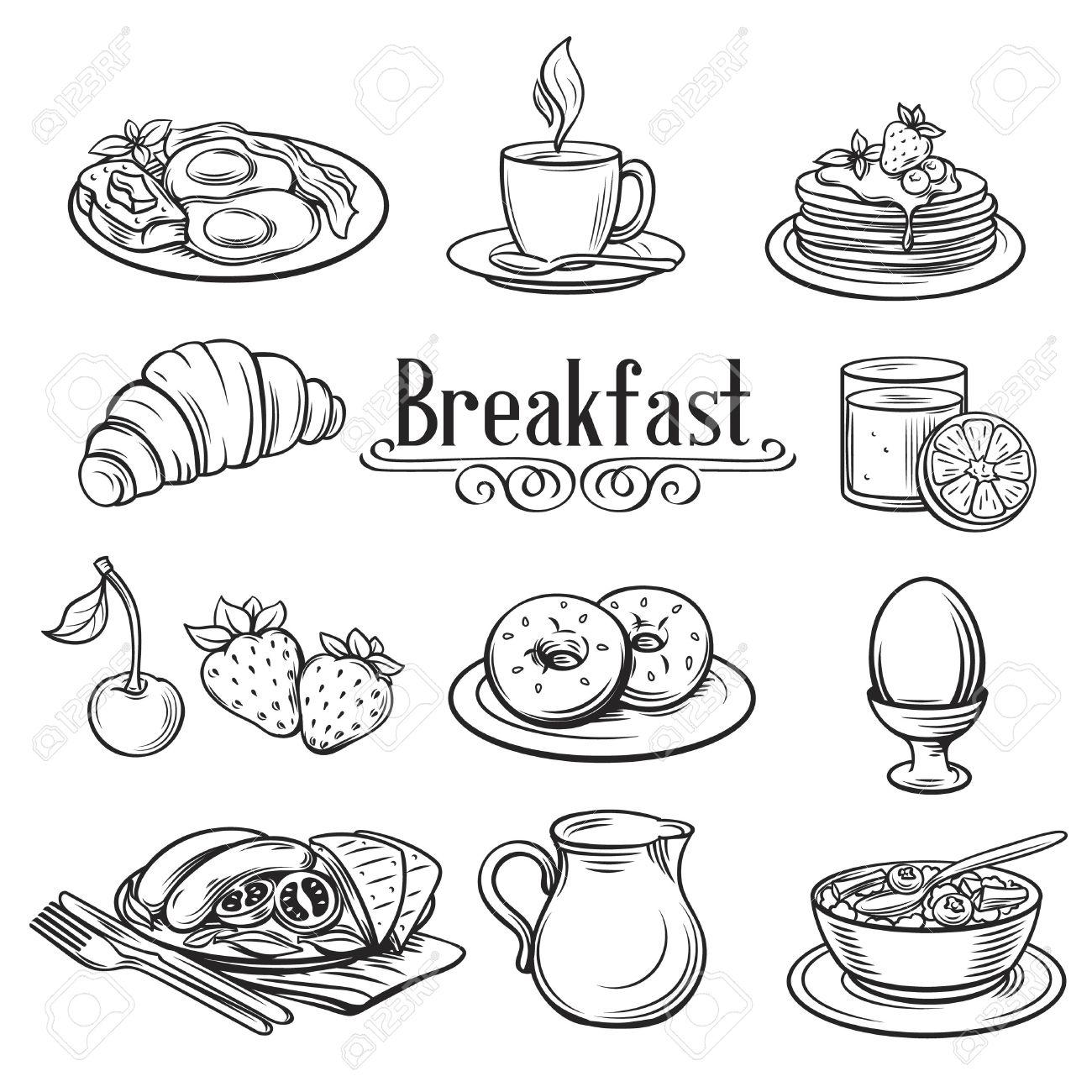 Hand drawn decorative icons breakfast . Vector Illustration. - 52123975