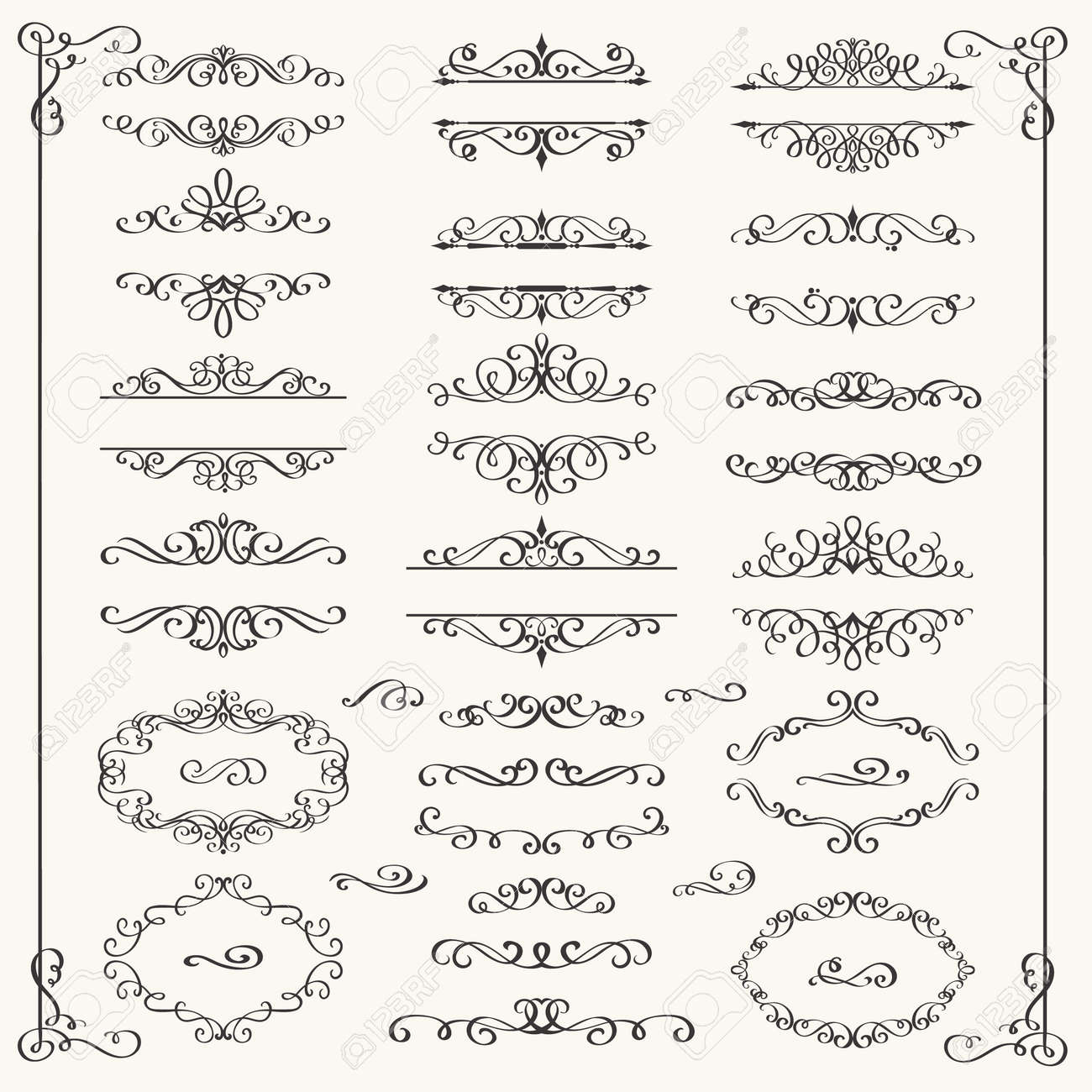 Calligraphic Design Elements Decorative SwirlsScrolls And Dividers Vintage Vector Illustration Stock