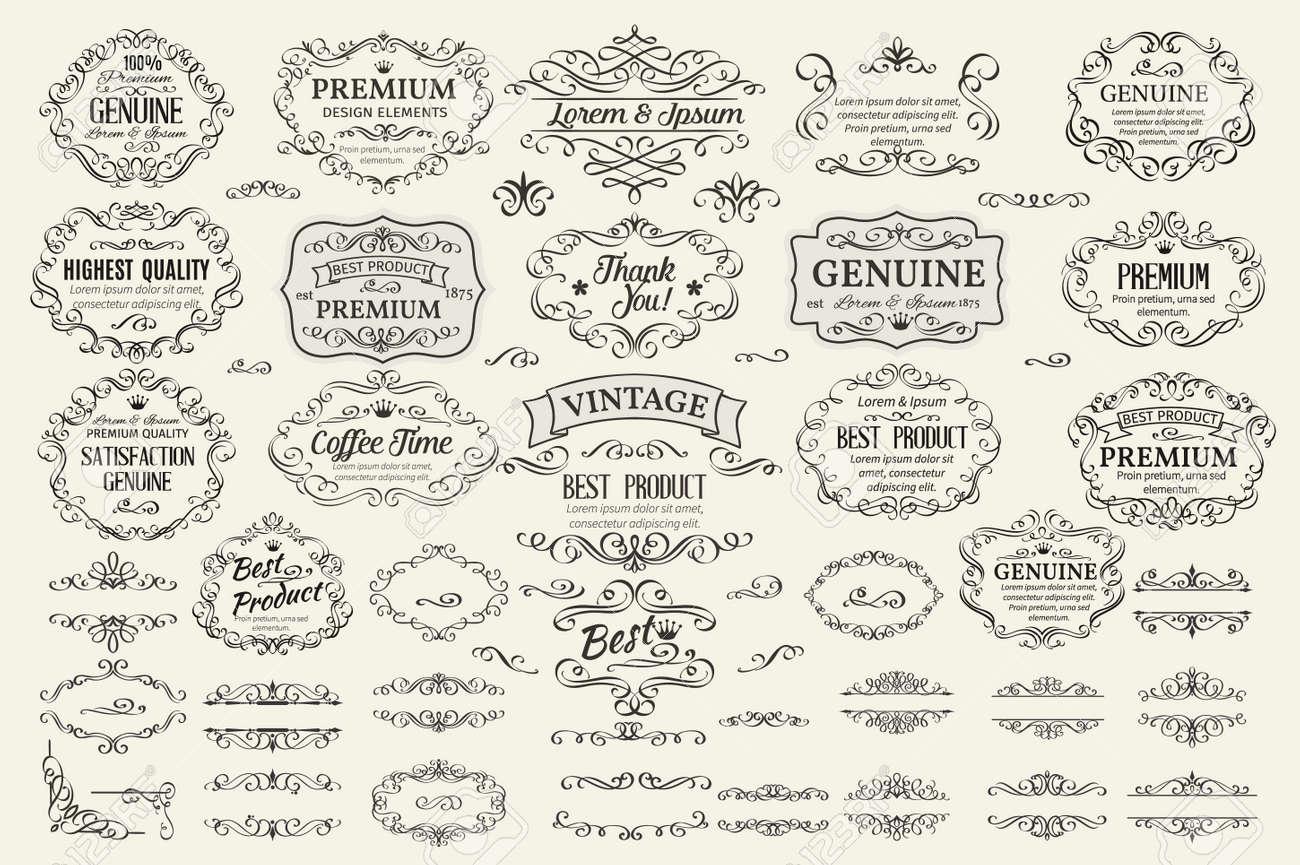 Calligraphic Design Elements . Decorative Swirls Scrolls Frames Labels and Dividers. Vintage Vector Illustration. - 52481160