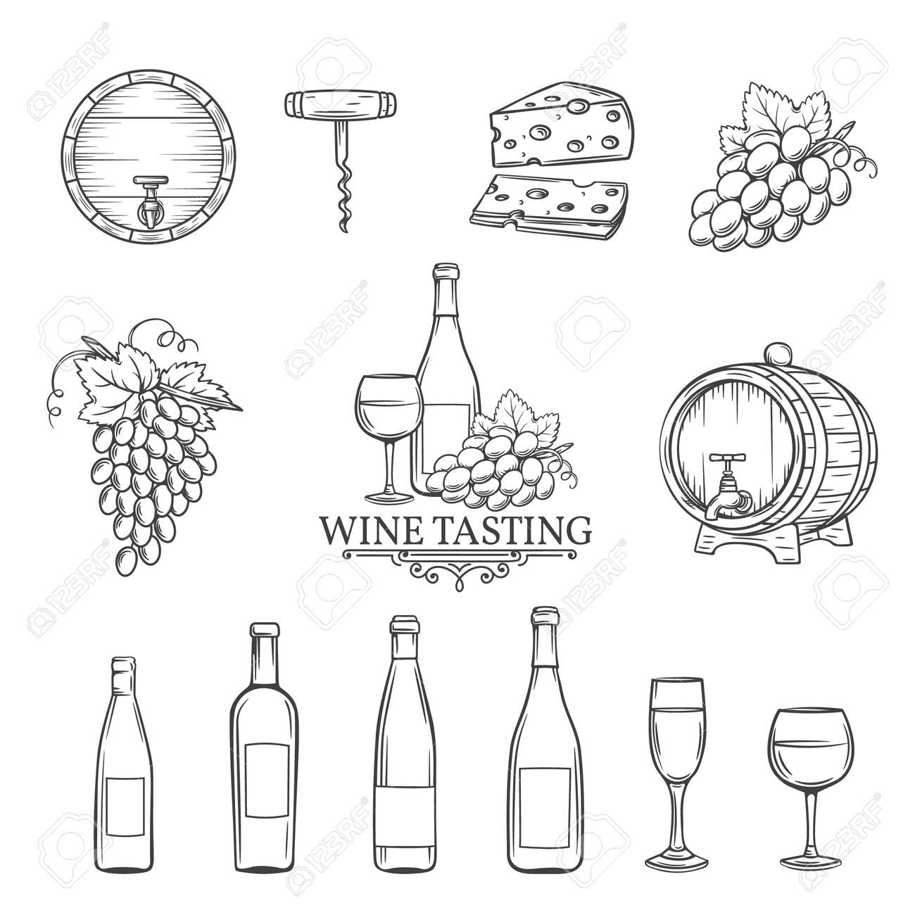 Hand draw wine icons set on white. Decorative wine icons . Monochrome icons wine in old style for the design of wine labels cards brochures. Wine vector illustration. - 55684132