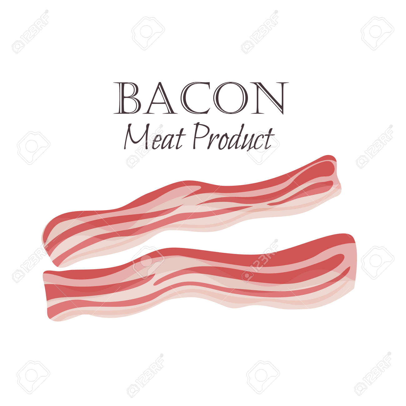 Bacon strips vector illustration in cartoon style. Meat product design. - 65255264