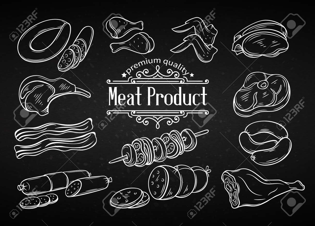 Set hand drawn monochrome icon meat. Decorative meat icons in old style for the design food meat production , brochures, banner, restaurant menu and market. Chalk board style. - 67096962