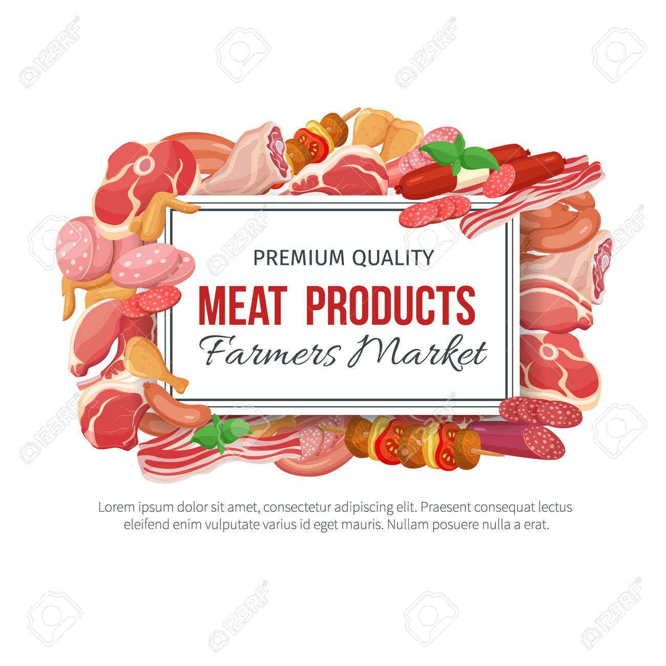 Gastronomic meat products banner menu design. Vector icons steak , barbecue, lamb, chops, bacon, chorizo, sausage, chicken wings, chicken legs ham salami and slices sausage - 68973324