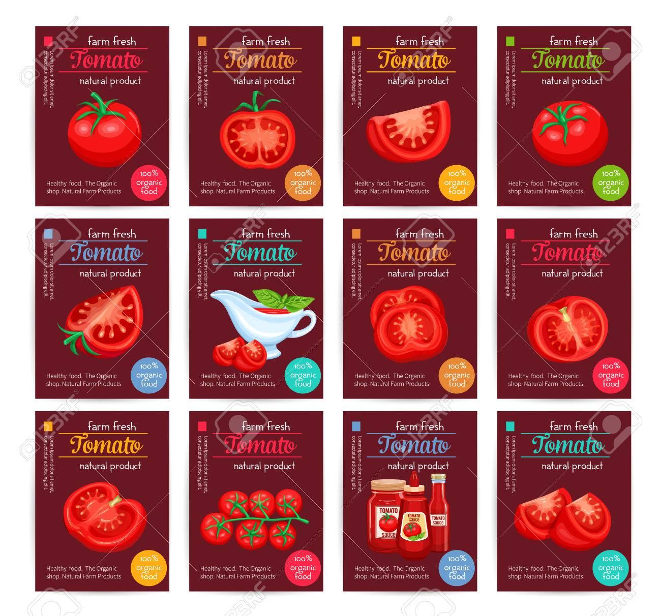 Tomato product sauce ketchup poster set. - 72172393