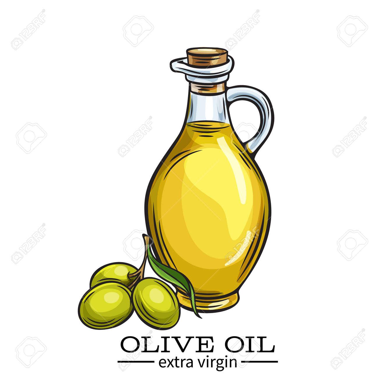 Botella De Vidrio De Vector Jarra De Aceite De Oliva Y Aceitunas ...