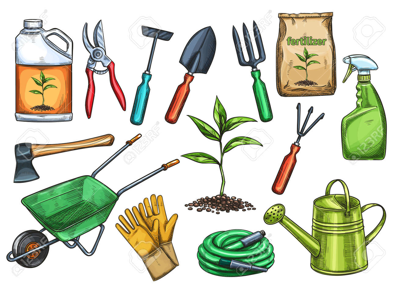 Gardening Tools Vector Illustration Royalty Free Cliparts