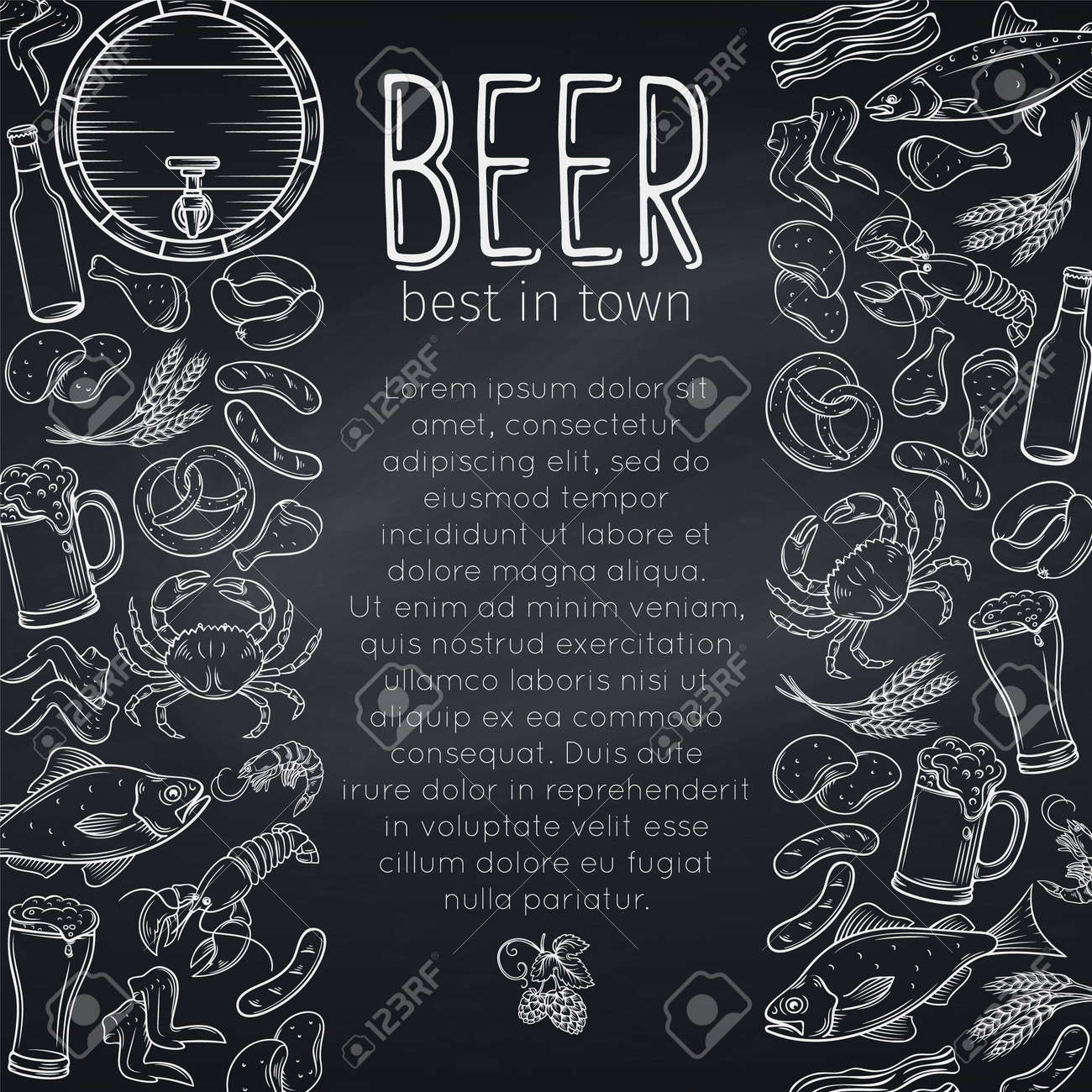 Pub Food And Beer Poster Design Vector Alcohol And Snacks Poster