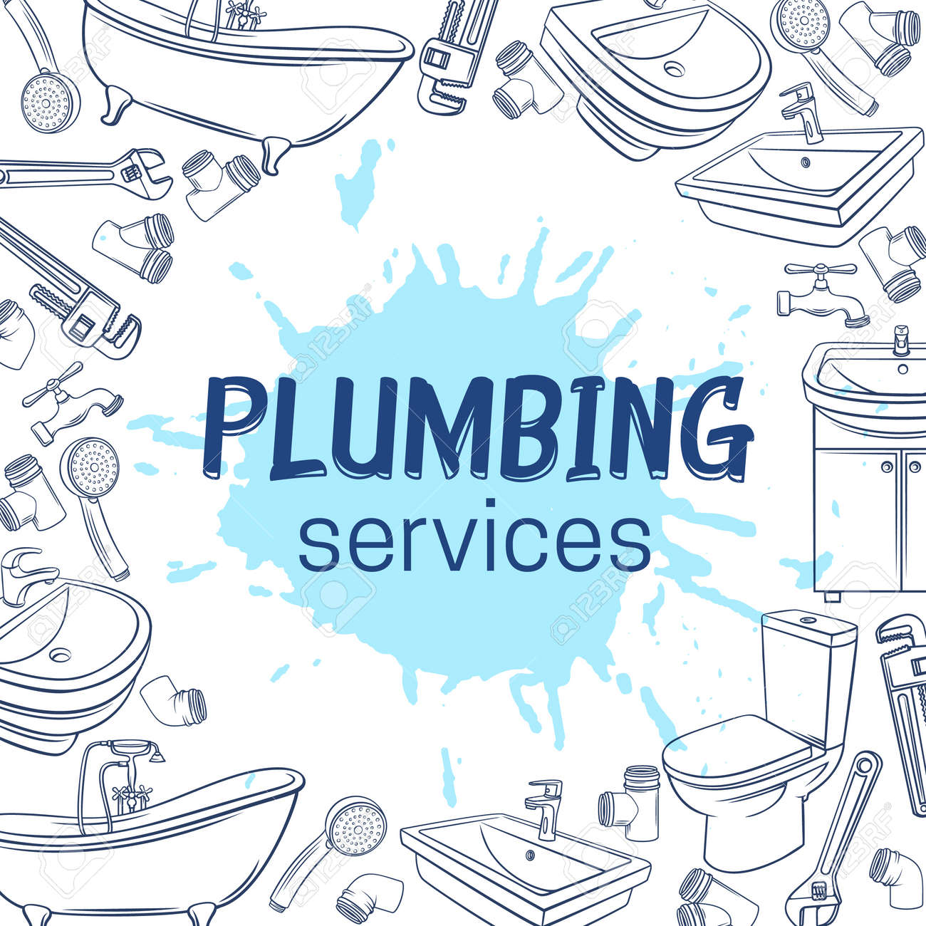 Plumbing Service Layout Page Design Hand Drawn Shower Bathroom