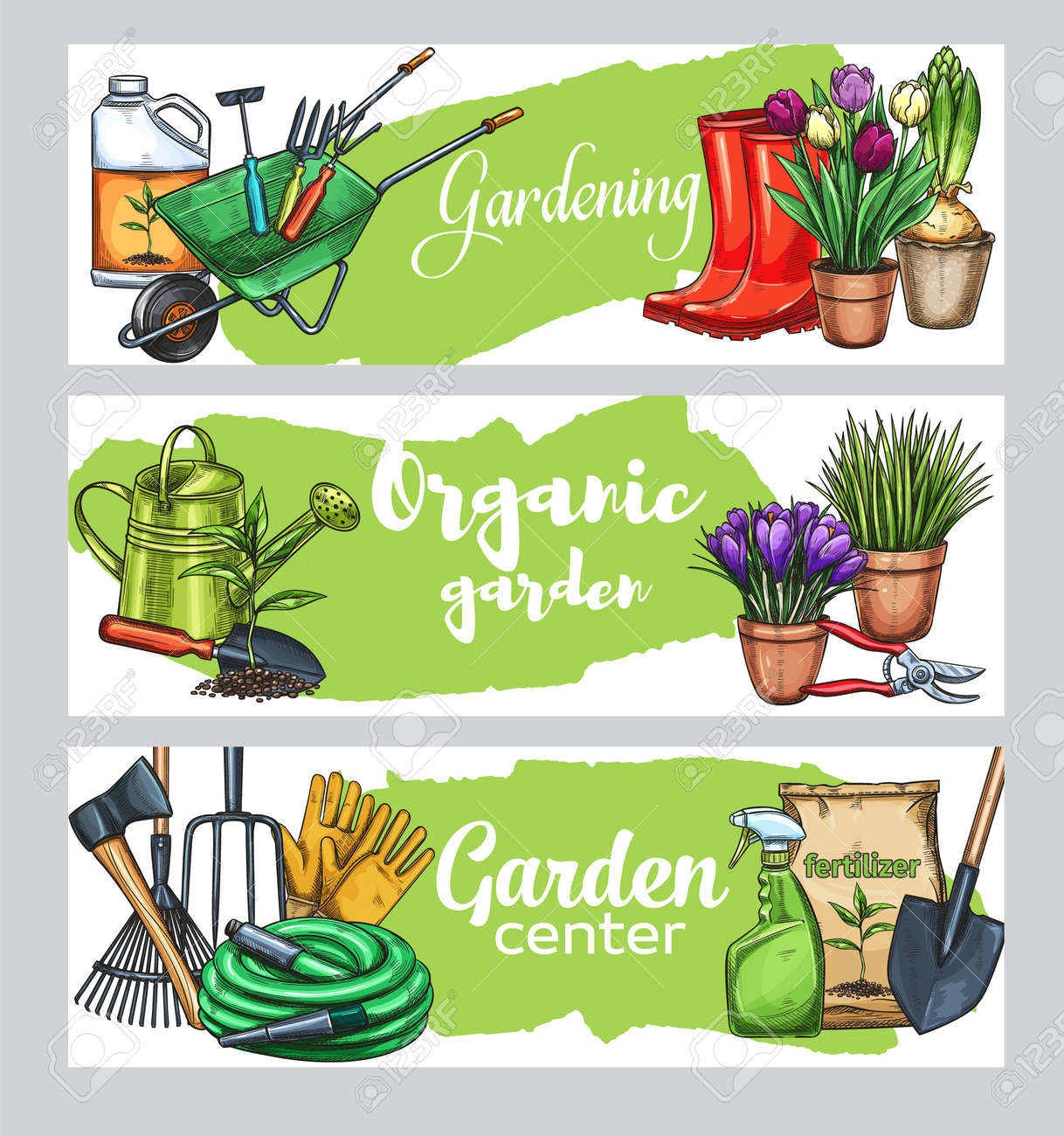 Gardening Banners With Tools Flowers Rubber Boots Seedling Royalty Free Cliparts Vectors And Stock Illustration Image 113511440