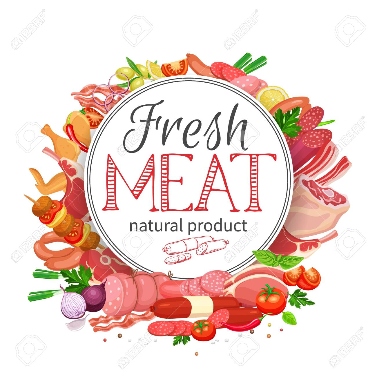 Meat products with vegetables and spices round banner template for food meat production, brochures, banner, menu and market design. Vector Illustration. - 148570584