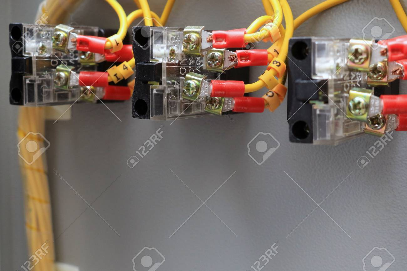 Electric Wires In The Control Box Center Stock Photo, Picture And ...