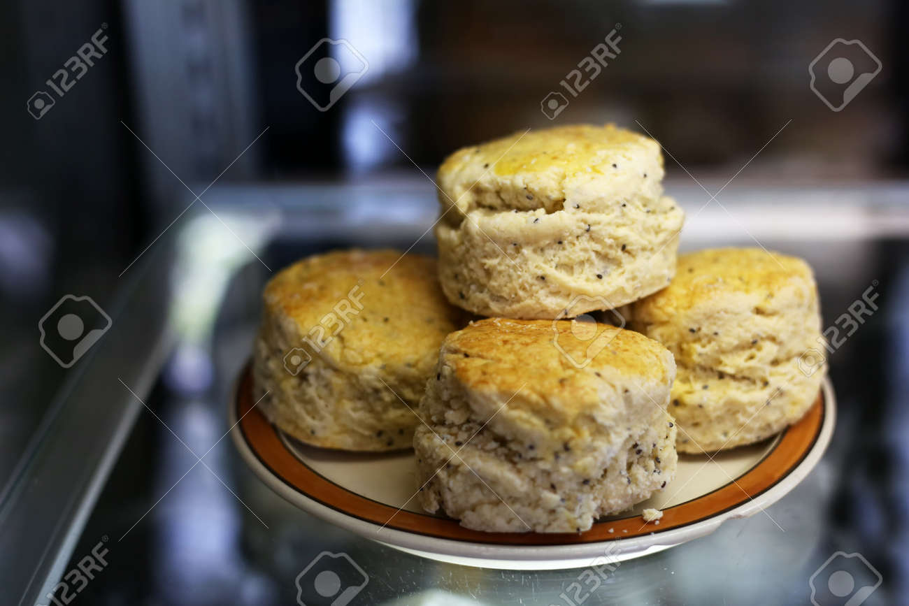 English cheese scones with sasame seed and grain on the Plate