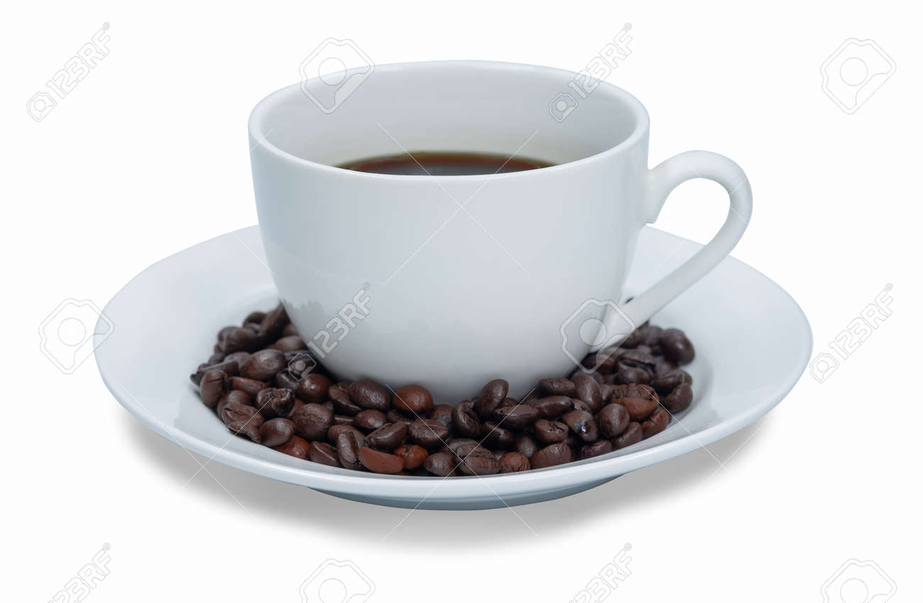 White cup of hot black coffee and seed isolated on white background. - 130215785