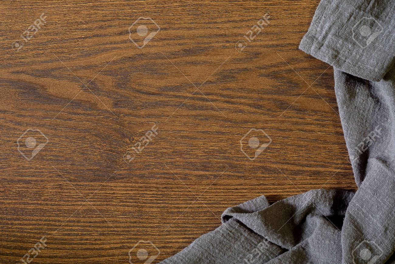 Flat lay, View from above empty kitchen table with napkin. Old cooking wooden table. Top view with copy free space. - 140459685