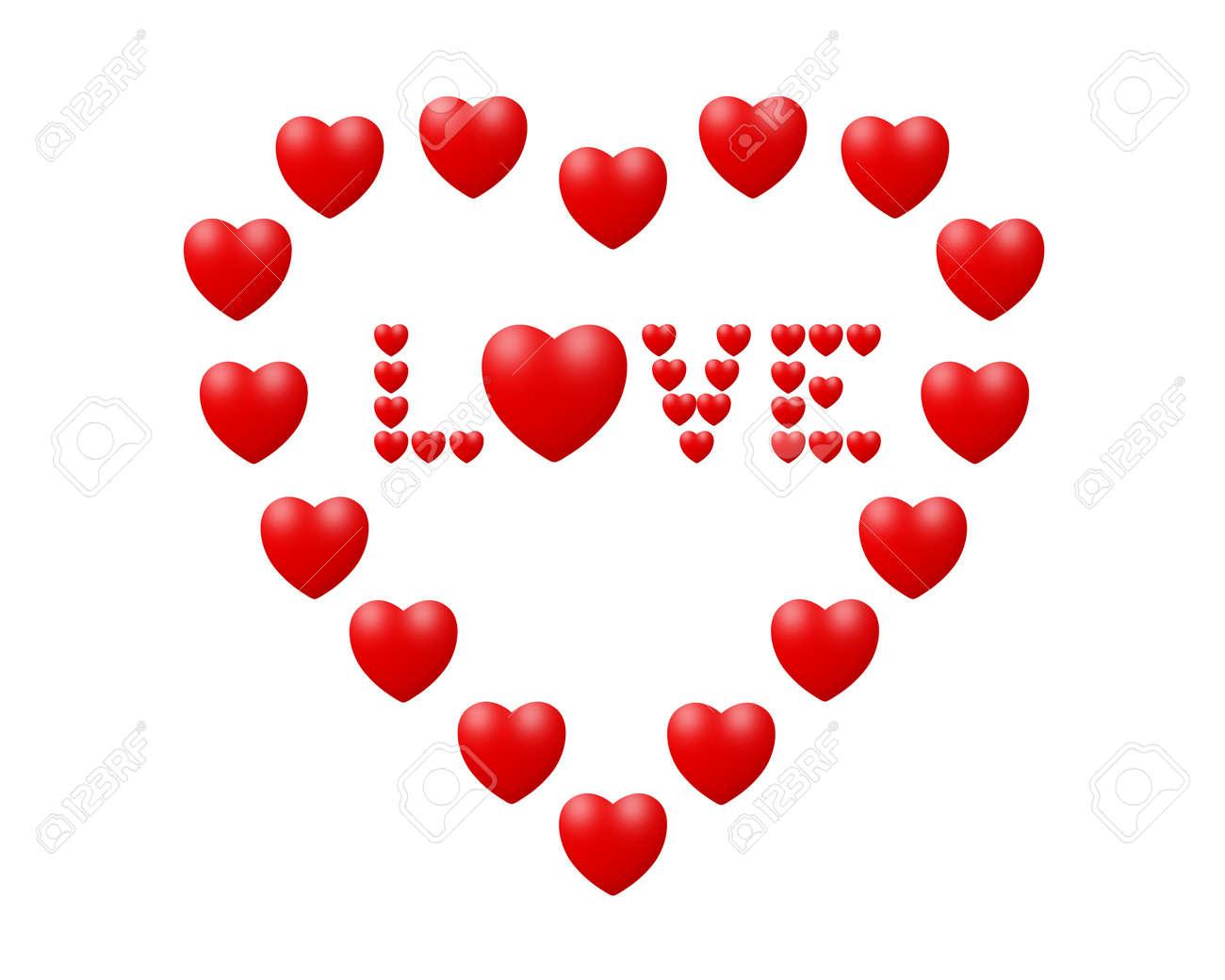 Amor Concepto El Amor En El Corazón Hecho De Pequeños Corazones