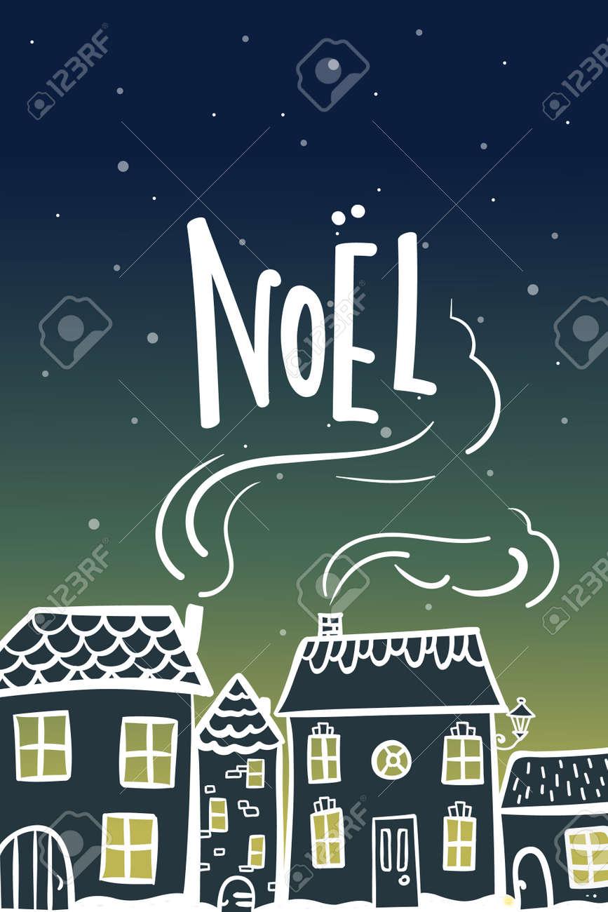 Cartao De Ano Novo Com Visao Noturna Noite Cidade Nevando Dos