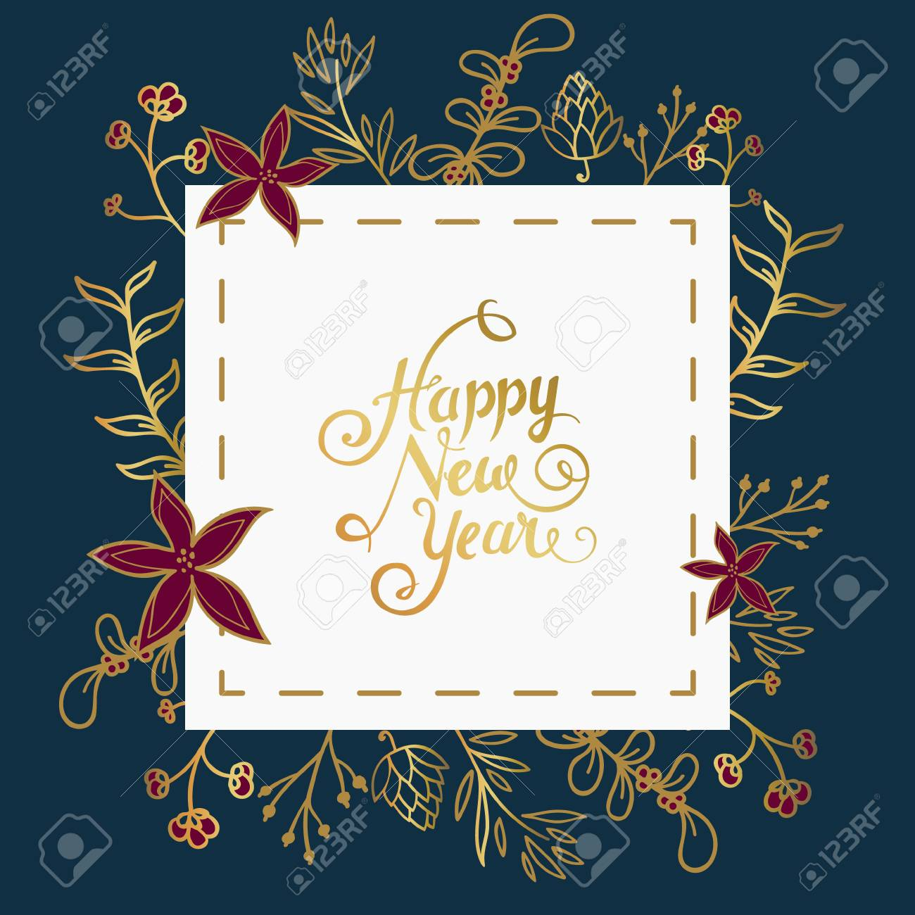 New Year Wishes In White Square Over Dark Blue Background With ...