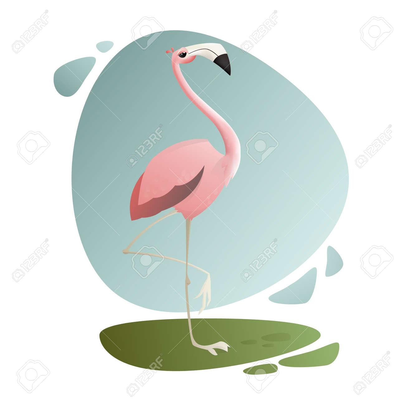 Exotic Animals. Tropic Bird. Pink Flamingo Looking Away Stock Vector    72398369