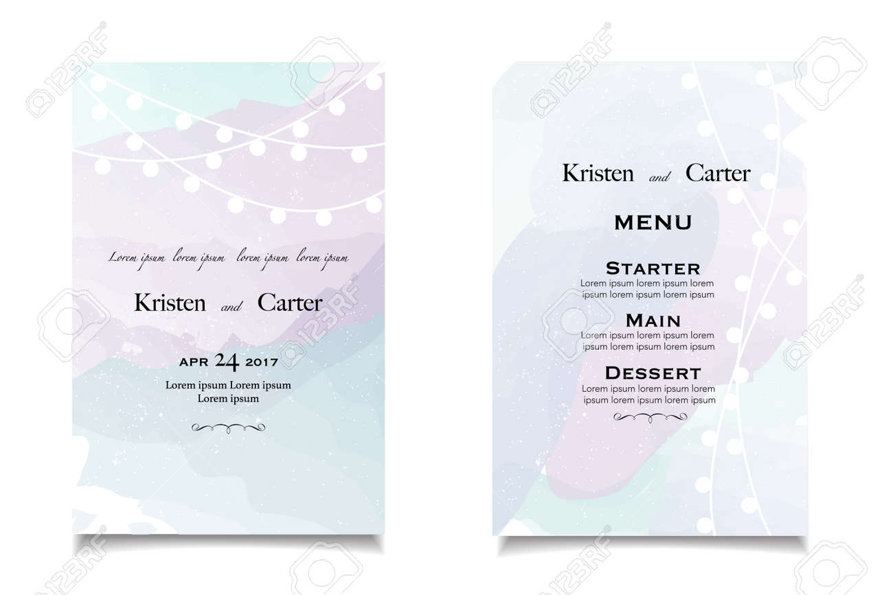 Pastel Wedding Invitations And Announcement With Vintage Background ...