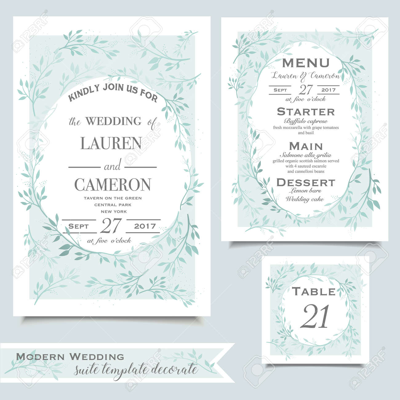 Mint Wedding Invitation Card With Floral Ornament On White ...