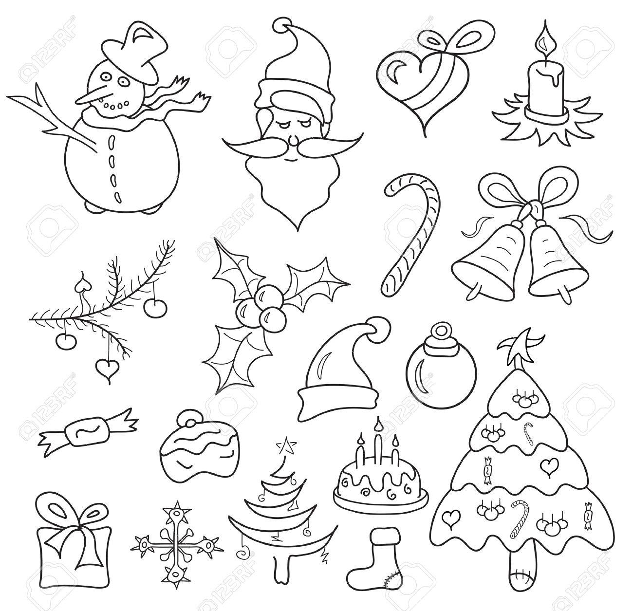 christmas icons sketch isolated on white Stock Vector - 8119061