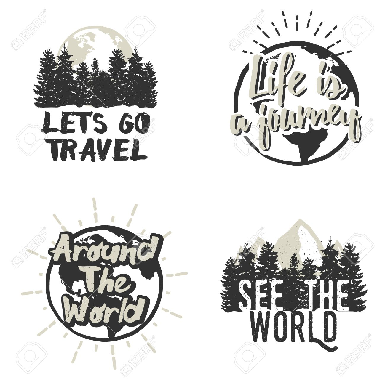 Adventure emblems with different travel design elements map adventure emblems with different travel design elements map of earth mountains trees silhouettes gumiabroncs Choice Image