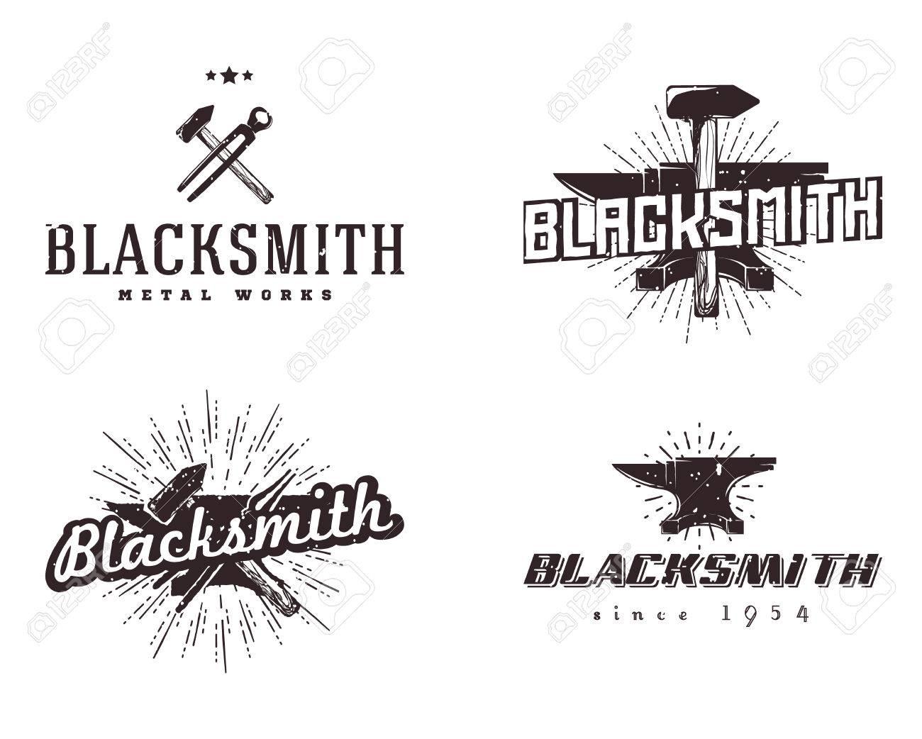 Starburst Signs Template Set Of Blacksmith And Metalworks Badges Labels Emblems