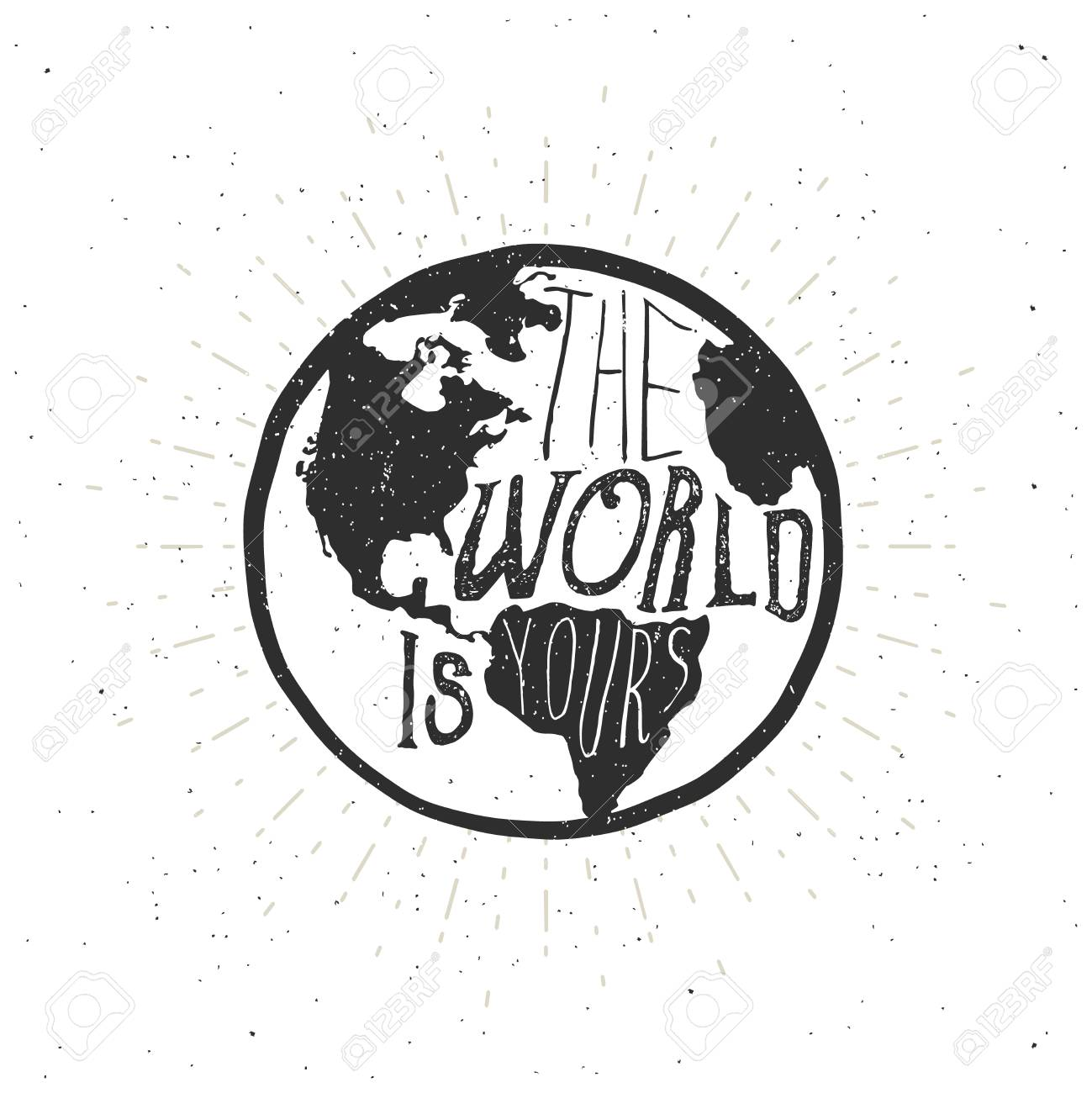 The world is yours typography quote with earth map vector the world is yours typography quote with earth map vector illustration stock vector gumiabroncs Image collections