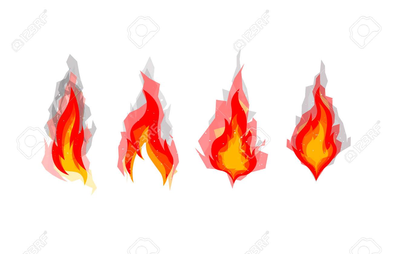 set of four cartoon fires bonfires concept polygonal shadow