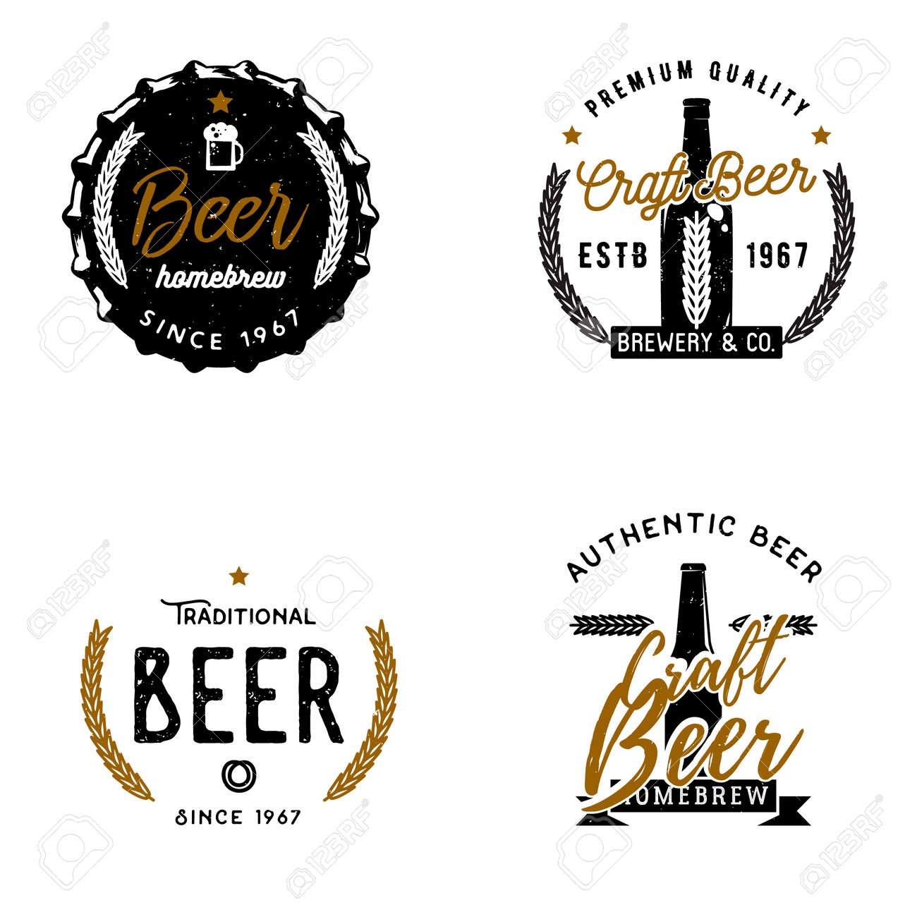 Et Of Beer Themed Logos, Badges, Labels. Brewery Emblems, Craft ...