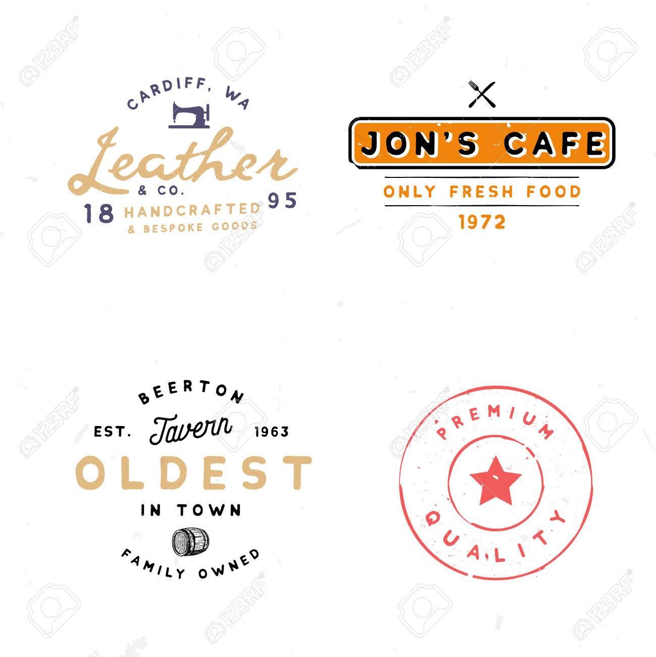 four vintage logo templates tavern leather goods premium quality