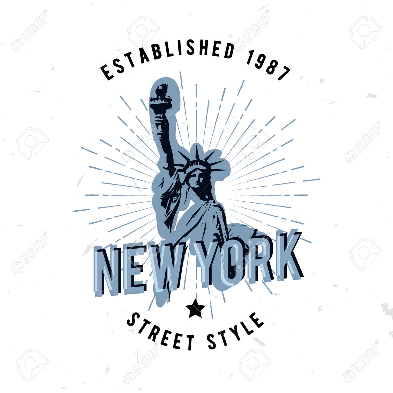 720eba12 New York street style apparel fashion design with sunburst and textured  distressed look. statue of